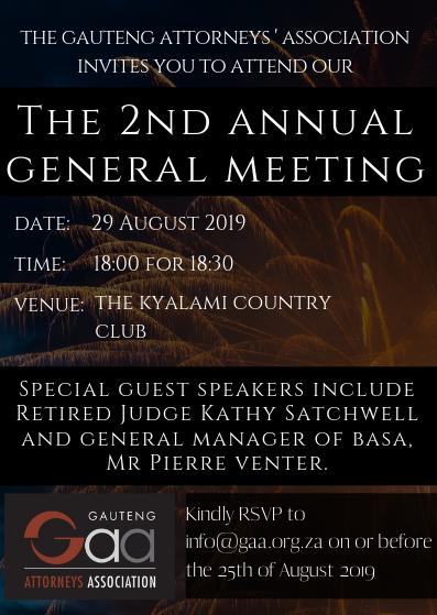 Gauteng Attorneys Association Second Annual General Meeting